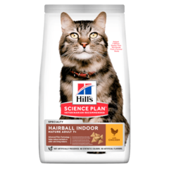 Корм для кошек старше 7 лет Hill`s Science Plan Adult 7+ Hairball Control, вывод шерсти из желудка, с курицей
