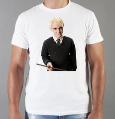 Футболка с принтом Гарри Поттер, Драко Малфой, Том Фелтон (Draco Malfoy) белая 001
