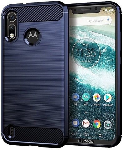 Чехол Motorola Moto One Power 2 (P40 Play) цвет Blue (синий), серия Carbon, Caseport