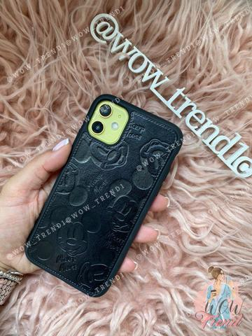 Чехол iPhone XR Mickey Mouse Leather /black/