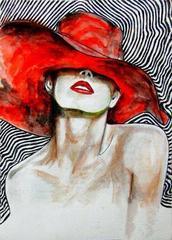 Картина раскраска по номерам 30x40 Девушка в красной шляпе
