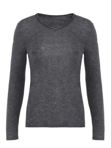 Женский джемпер серого цвета из 100% шерсти - фото 2