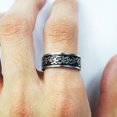 Кольцо мужское из нержавеющей ювелирной стали с руническим орнаментом SPIKES R-M0007