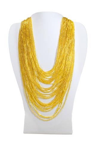 Бисерное ожерелье из 36 нитей золотое длинное