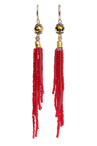 Серьги-каскад бисерные красные