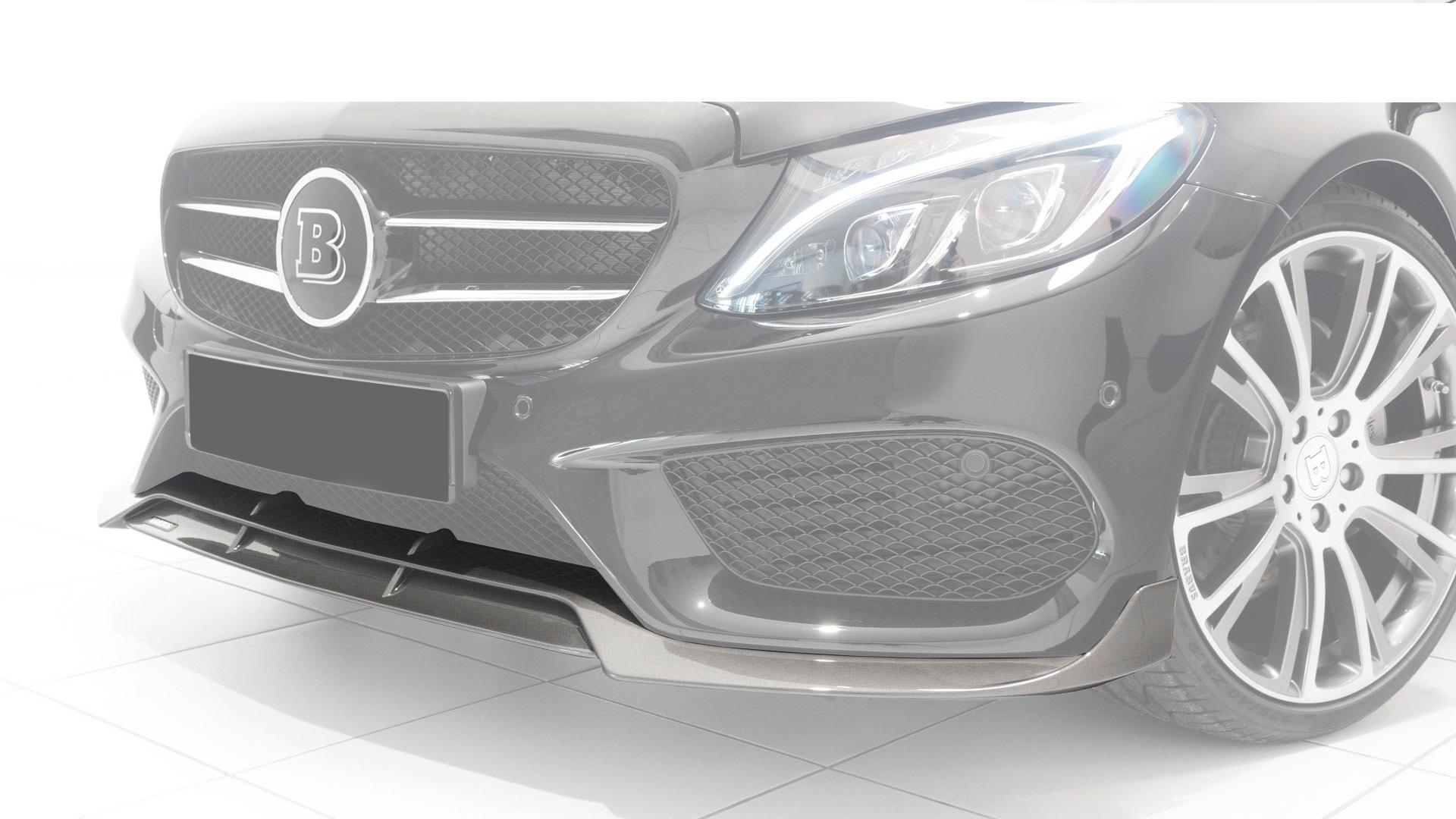 Карбоновый cпойлер переднего бампера Brabus Style AMG Sport для Mercedes С-class W205