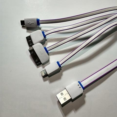 Кабель 4 в 1 USB-microUSB/iPhone 4/5-8, Note 3