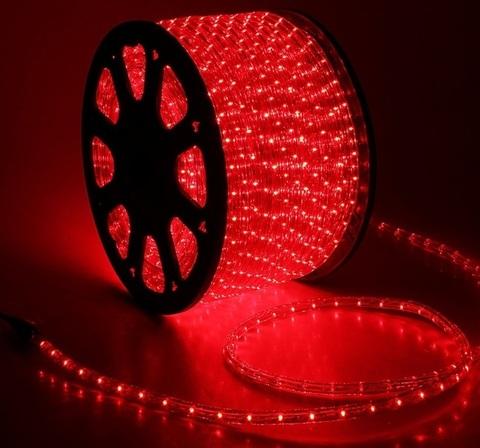 Дюралайт светодиодный, двухпроводной, круглый 11 мм, Красный, 36 LED/м, кратность резки 2 метра