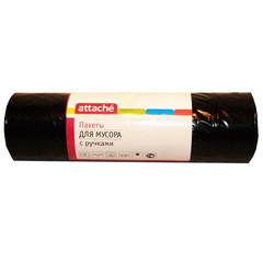 Мешки для мусора ПВД 110л 45мкм 20шт/рул черные 65x100см Attache с ручками