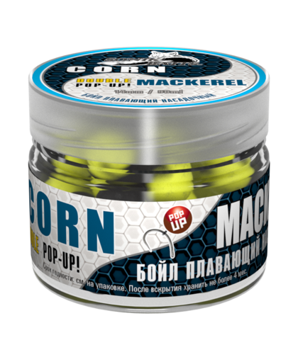 Бойлы насад. плав. двух цв. Sonik Baits CORN-MACKEREL Fluo Pop-ups 14мм 90мл