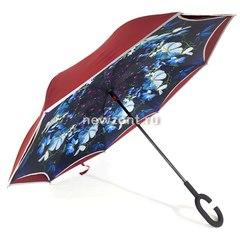Зонт-наоборот бордовый с синими цветками п/автомат (откр)