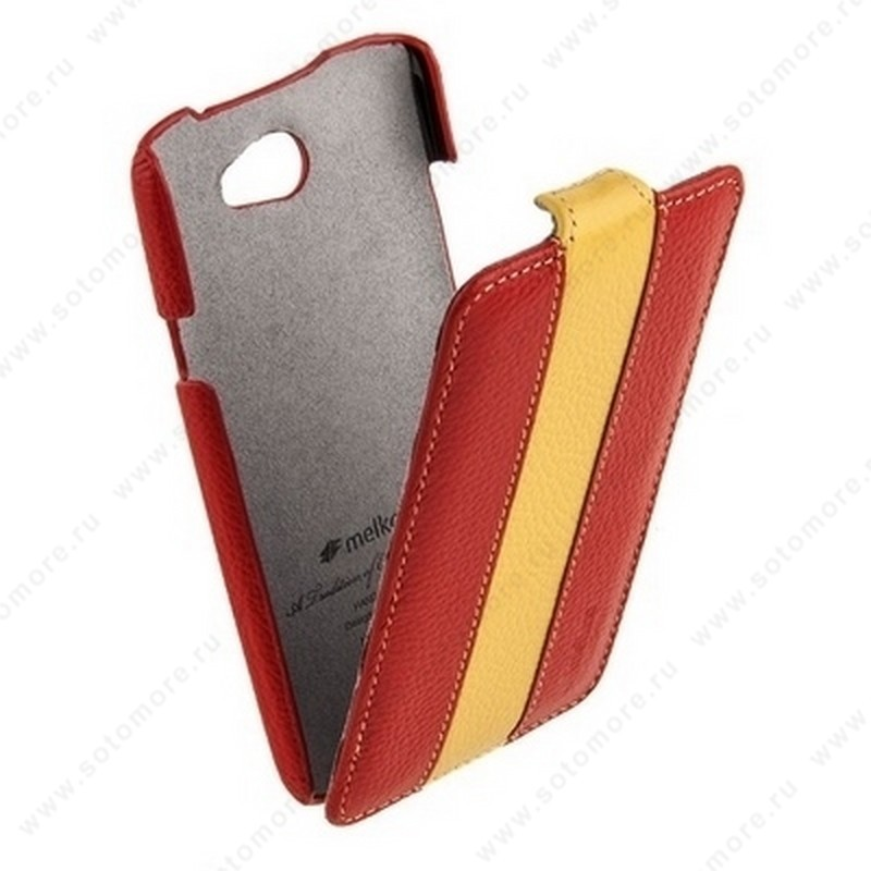 Чехол-флип Melkco для HTC One X Limited Edition Jacka Type (Red/Yellow LC)