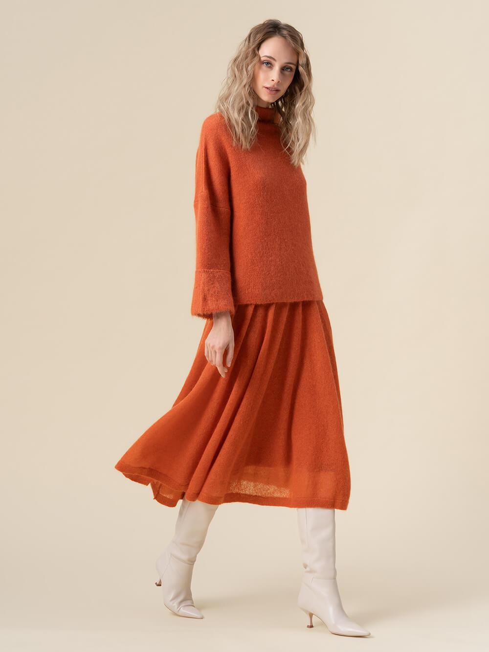 Женская юбка терракотового цвета - фото 1