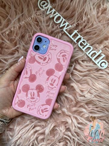 Чехол iPhone XR Mickey Mouse Leather /pink/