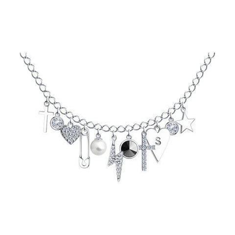 94070448 - Колье из серебра с жемчугом, кристаллом Swarovski и фианитами