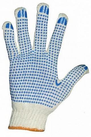 Перчатки 5-ти ниточные с ПВХ, белые