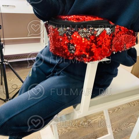Сумка на пояс женская в пайетках Клубничный-Зеркальный