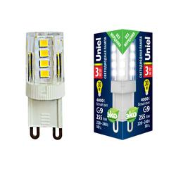 LED-JCD-3W/4000K/G9/CL GLZ09TR Лампа светодиодная, прозрачная. Белый свет (4000К). Картон. ТМ Uniel.