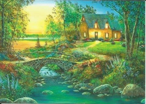 Картина раскраска по номерам 30x40 Уютный домик среди зелени (арт.TCR3155)