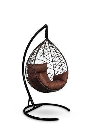 Подвесное кресло-кокон ALICANTE коричневое + каркас + коричневая подушка