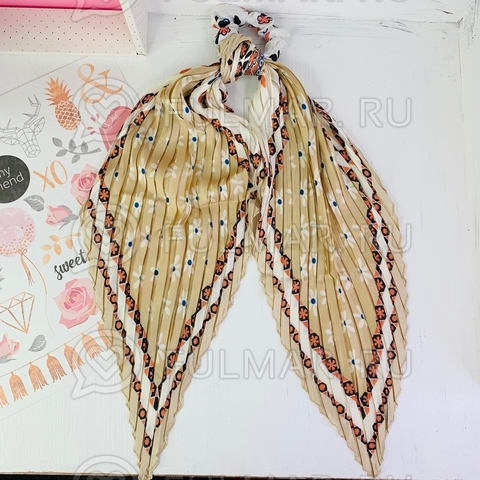 Плиссированный платок с резинкой модный аксессуар для волос Ромашки (цвет: бежевый)