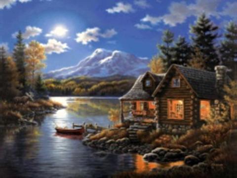 Картина раскраска по номерам 40x50 Дом у реки на закате