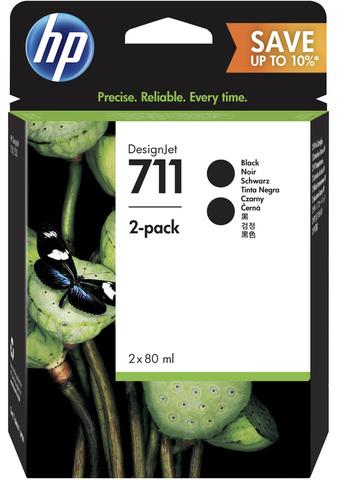 Комплект черных картриджей HP 711 (Bk) для HP DesignJet T520/T120, 2x80 ml