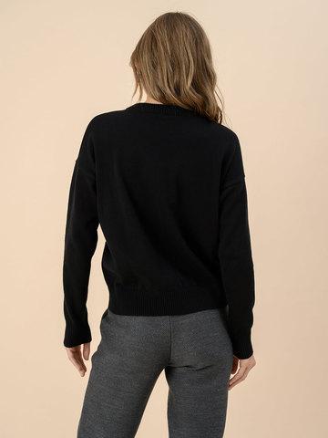 Женский джемпер черного цвета из 100% хлопка - фото 2
