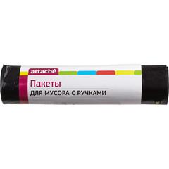Мешки для мусора на 180 литров с ручками Attache черные (60 мкм, в рулоне 5 штук, 80x100 см)
