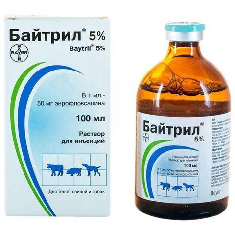 Байтрил 10% энрофлоксацин раствор для инъекций 100мл
