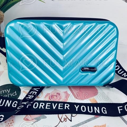 Клатч-сумка мессенджер через плечо женская маленькая Голубой Чемоданчик