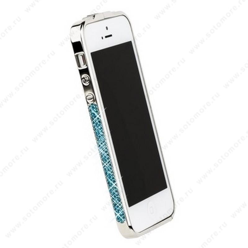 Бампер Newsh металлический для iPhone SE/ 5s/ 5/ 5 со стразами бирюзовыми