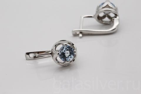 Серьги с топазом  из серебра 925