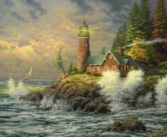 Картина раскраска по номерам 30x40 Дом с маяком