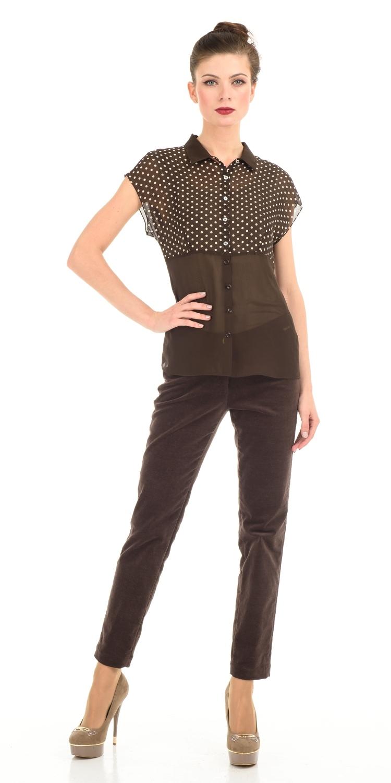 Блуза Г519-350 - Элегантная блуза из вискозного шифона с завышенной линией талии. Эта модель подходит для фигур всех типов, она  прекрасно подойдет для деловых и повседневных комплектов.