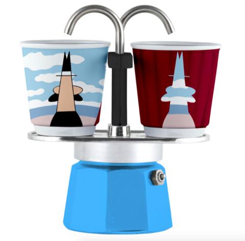 Bialetti Mini Express Arte Magrite, Гейзерная кофеварка на 2 порции с 2-мя чашками