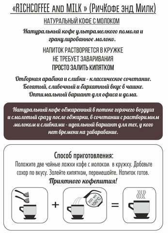 Натуральный молотый кофе Rich Coffee & Milk coffee / ЛАЙТ, 200 г