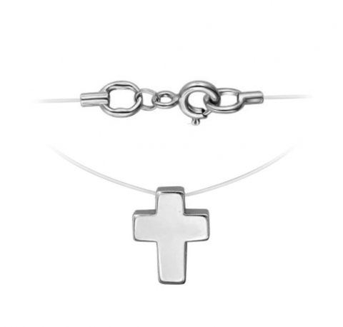 01Л021817- Крестик из белого золота на леске невидимке с замочками из золота 585 пробы
