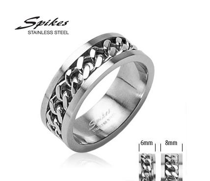 R-H0260 Мужское стальное кольцо «Spikes» со вставкой - цепью