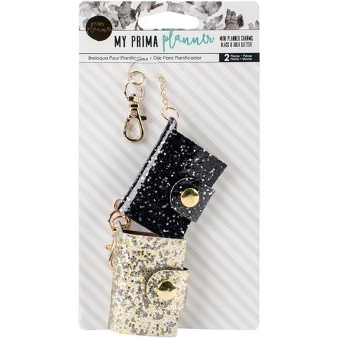 Брелоки для ежедневников Prima Traveler's Journal Mini Charms- Black & Gold Glitter -2шт.