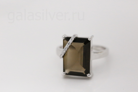 Кольцо с раухтопазом и фианитом из серебра 925