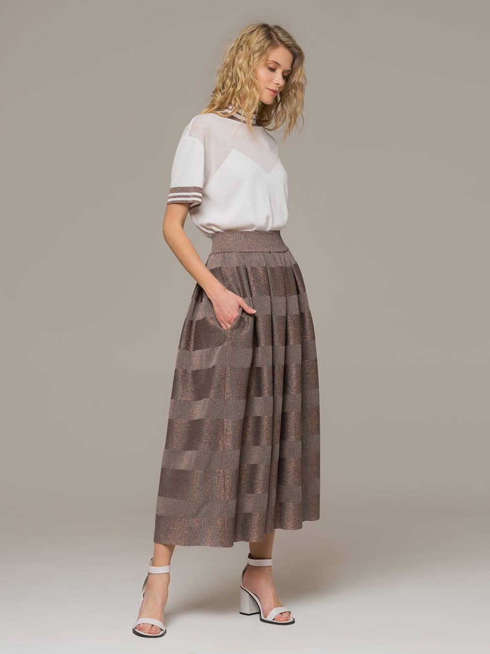Женская юбка миди серо-коричневого цвета - фото 1