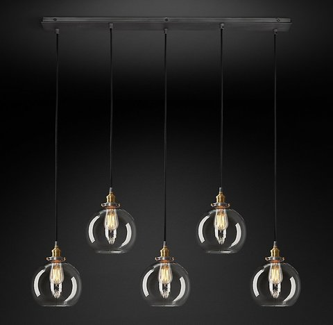 Подвесной светильник копия 20th C. Factory Filament Clear Glass Caf? Rectangular  Pendant by Restoration Hardware