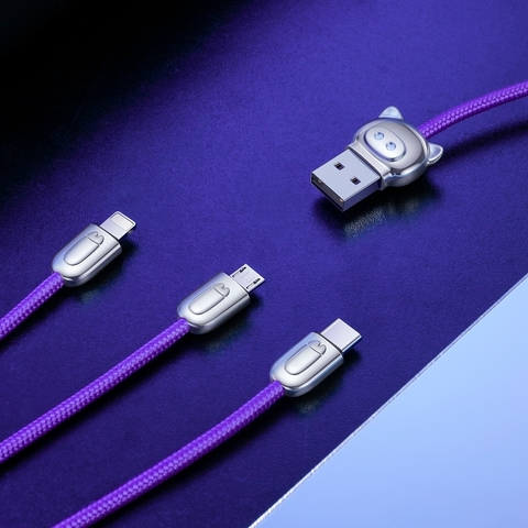 Кабель Baseus 3-in-1 USB Cable of Three Little Pigs USB For M+L+T 3.5A 1.2m Blue