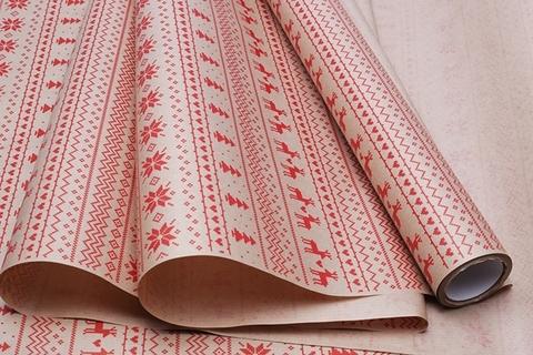 Бумага крафт 40г/м2, 70 см x 10 м, Орнаменты, цвет: красный