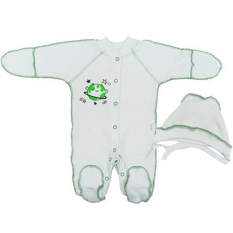 Папитто. Комплект для новорожденных комбинезон и чепчик Планетки, салатовый