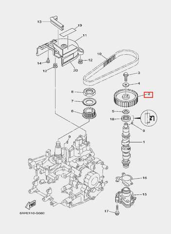 Шестерня распредвала для лодочного мотора F20 Sea-PRO (8-2)