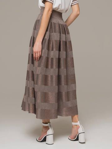 Женская юбка миди серо-коричневого цвета - фото 2
