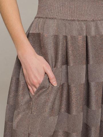 Женская юбка миди серо-коричневого цвета - фото 4