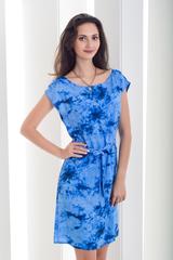 Рута. Легкое женское платье больших размеров. Голубой принт